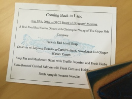 coming back to land menu card