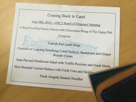 coming back to land menu card